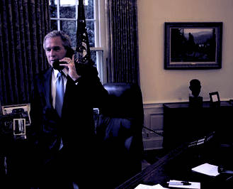 George W. Bush on the phone with John Kerry after stealing the 2004 election