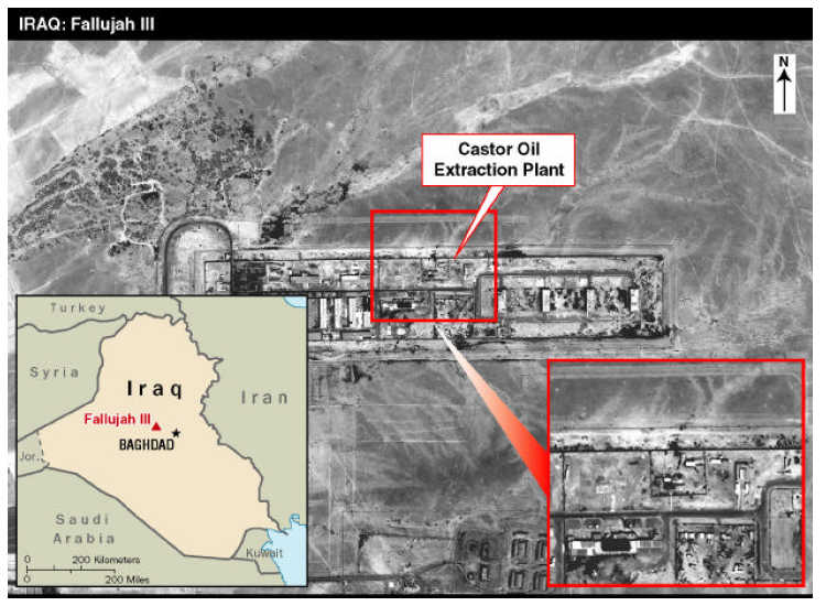 graphic of supposed Castor Oil Extraction Plant in Fallujah