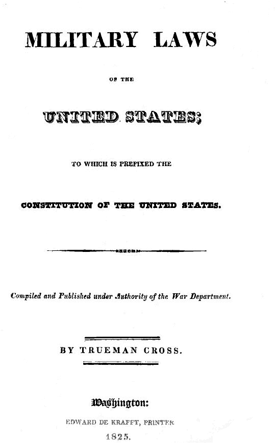 Military Laws of the USA; 1825 edition