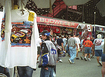 Dale Earnhardt's souvenir stand in background, NHIS T shirt         in foreground
