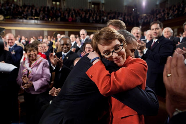 President Barack Obama hugs Rep. Gabrielle Giffords after 2012 State of the Union